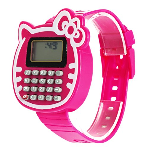 (WinnerEco Children Silicone Date Multi-Purpose Kids Calculator Wrist Watch Rosered)