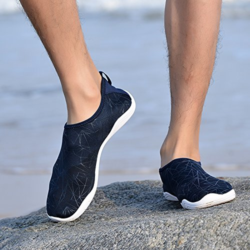 BIGU Water Shoes Mens Womens Barefoot Shoes Beach Snorkeling Swimming Quick Drying Slip On Yoga Shoes Skin Socks for Unisex Sports Aqua Shoes for Walking,Park,Boating Blue-line