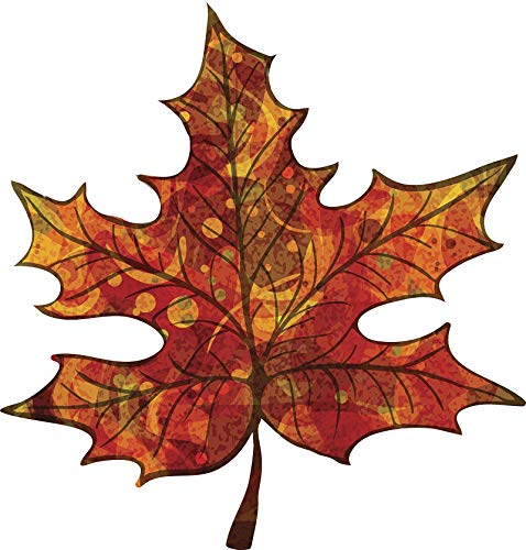 Maple Ribbon - EW Designs Pretty Fall Autumn Pumpkin Colored Maple Leaf Vinyl Decal Bumper Sticker (4
