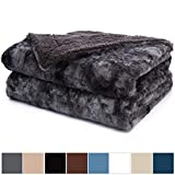 What Is the Size of a California King Size Bed The Connecticut Home Company Luxury Faux Fur Bed Throw Blanket (King Size 108x90) Super Soft, Large Wrinkle Resistant Reversible Blankets, Warm Hypoallergenic Washable Throws for Beds (Gray Tie Dye)