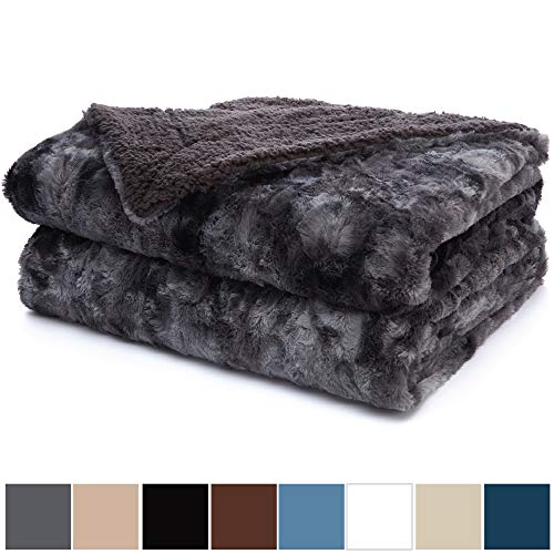 The Connecticut Home Company Luxury Faux Fur Bed Throw Blanket (Queen/Full Size 90x90) Soft, Large Wrinkle Resistant Reversible Blankets, Warm Hypoallergenic Washable Throws for Beds (Gray Tie Dye)