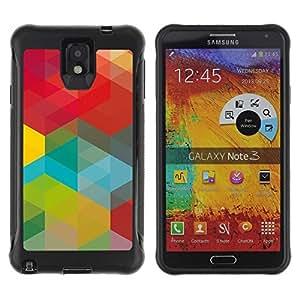 Pulsar iFace Series Tpu silicona Carcasa Funda Case para SAMSUNG Galaxy Note 3 III / N9000 / N9005 , Vert Rouge Jaune Teal Vibrant