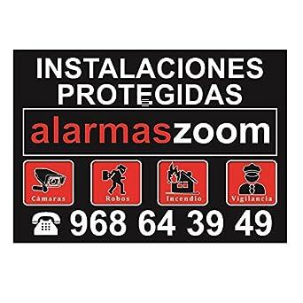 Cartel rígido instalaciones protegidas alarmaszoom color negro Cartel alarma Formato A4. Gran tamaño. Exterior