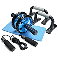 Odoland 3-In-1 AB Wheel Roller Kit AB Roller Pro with Push-Up Bar, Jump Rope and Knee Pad - Perfect Abdominal Core Carver Fitness Workout for Abs - with Workout Guide by Odoland