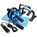 3-In-1 AB Wheel Roller Kit - Odoland AB Roller Pro with Push-Up Bar, Jump Rope and Knee Pad - Perfect Abdominal Core Carver Fitness Workout for Abs