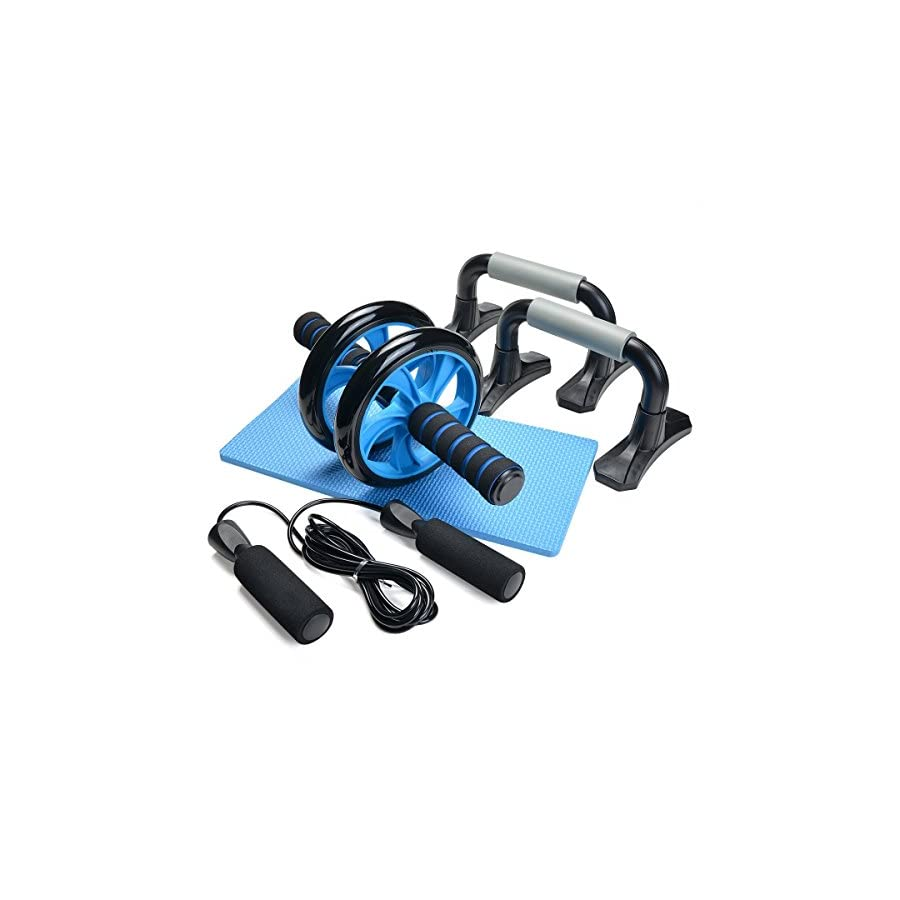 Odoland 3 In 1 AB Wheel Roller Kit AB Roller Pro with Push Up Bar, Jump Rope and Knee Pad Perfect Abdominal Core Carver Fitness Workout for Abs with Workout Guide