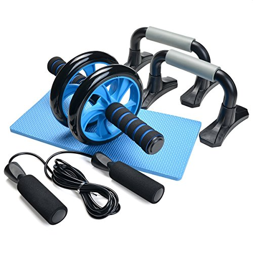 Odoland 3-In-1 AB Wheel Roller Kit AB Roller Pro with Push-Up Bar, Jump Rope and Knee Pad - Perfect Abdominal Core Carver Fitness Workout for Abs - with Workout (Loading Platform Kit)