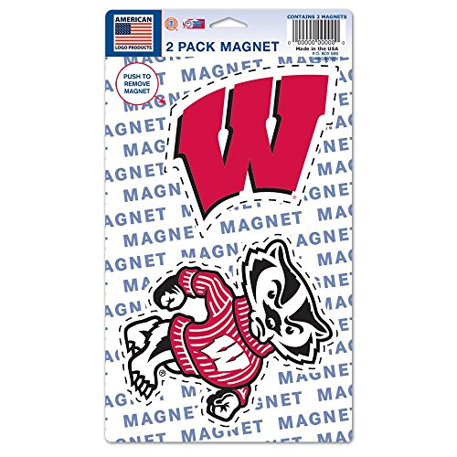 NCAA University of Wisconsin WCR11432215 Magnets (2 Pack), 5