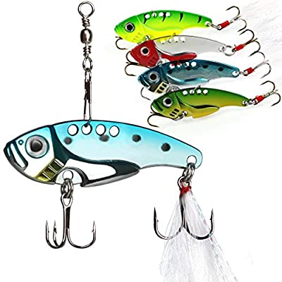 Sougayilang Spinner Spoon Swimbait Vibrating Jigging Freshwater Saltwater Fishing Tackle Lures and Baits