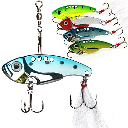 Sougayilang Spinner Spoon Blade Swimbait Freshwater Saltwater Fishing Tackle Lures and Baits Pack of 4pcs (Spinner Spoon)