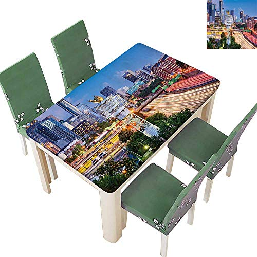 Printsonne Table in Washable Polyeste Atlanta Georgia Urban Busy Town with Skyscrapers City Landscape Light Blue Yellow Coral Wedding Party Restaurant 54 x 120 Inch (Elastic Edge) ()