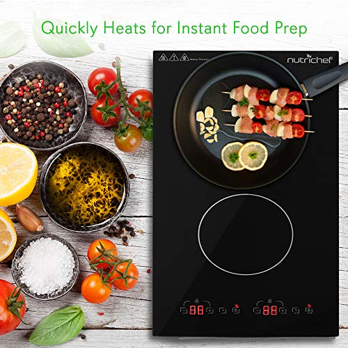 Dual 120V Electric Induction Cooker - 1800w Portable Digital Ceramic Countertop Double Burner Cooktop w/ Countdown Timer - Works w/ Stainless Steel Pan / Magnetic Cookware - NutriChef PKSTIND52 by NutriChef (Image #4)