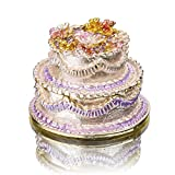 YUFENG Cake Shape Jeweled Trinket Boxes Hinged Crystals ,Hand-painted Patterns Jewelry Trinket Box Collectible Ring Display holders for Women or Girl Gift