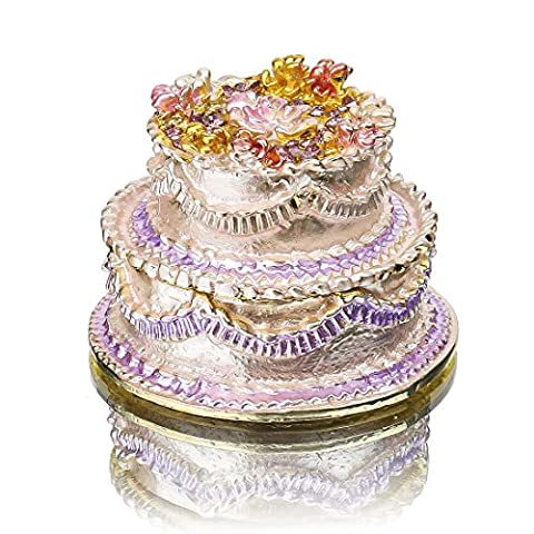 YUFENG Cake Shape Jeweled Trinket Boxes Hinged Crystals ,Hand-painted Patterns Jewelry Trinket Box Collectible Ring Display holders for Women or Girl - Turtle Hinged Trinket Box