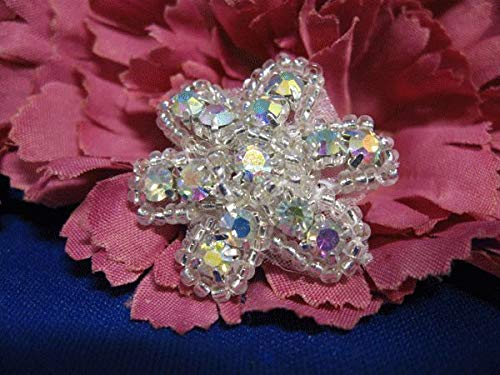 Silver Aurora Borealis Rhinestone Flower Beaded Applique KE-566