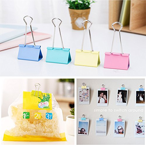 AUSTOR 110 Pcs Colored Binder Clips Paper Clamp Clips Assorted 6 Sizes by AUSTOR (Image #5)