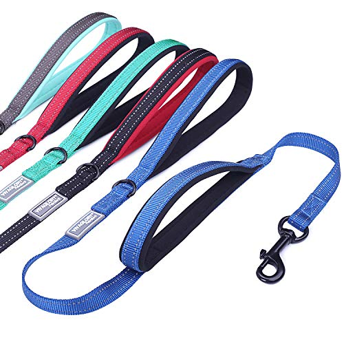 Vivaglory Dog Leash with 2 Padded Handles, Heavy Duty 4ft Long Reflective Safety Training Traffic Handle Leash Walking Lead for Small to Medium Dogs, Royal Blue (Blue Leash)