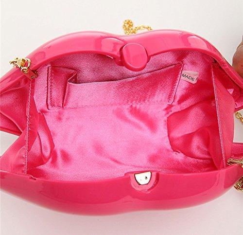 Lippenförmige Acryl-Tasche, Damen rote Lippen Abendtasche, Schulter diagonale Kette Paket, Bankett Tasche, Abendtasche