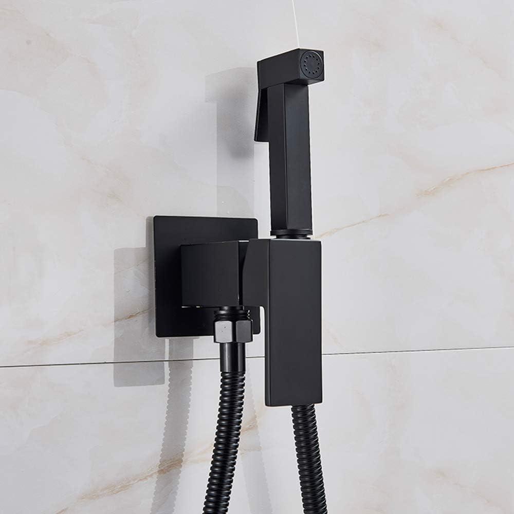 lat/ón, v/álvula de cobre, juego de v/álvula de chorro, bid/é, ducha fr/ía y caliente Onyzpily color negro Grifo de bid/é pulverizador de pared para inodoro