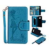 Galaxy S8 Plus Wallet Cellphone Case,Welegant Embossed Girls Animals Wallet Kickstand Case with Hand Strap & Card Holder Slots for Samsung Galaxy S8 Plus (Fit Galaxy S8 Plus, Blue)