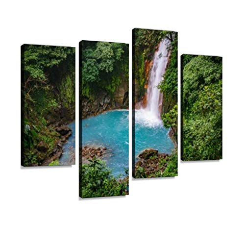 (Celestial Blue Waterfall in volcan tenorio National Park Costa rica Canvas Wall Art Hanging Paintings Modern Artwork Abstract Picture Prints Home Decoration Gift Unique Designed Framed 4 Panel)