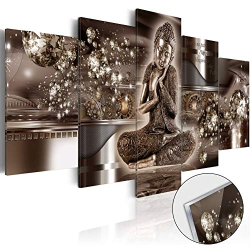 Modern Buddha Canvas Wall Art Head Portrait Artwork Painting 5 Pieces Zen Picture Print Home Decoration Framed Ready to Hang ()