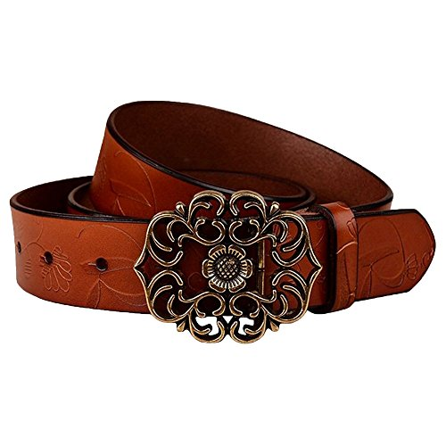 Normcorer Genuine Belt- Floral Embossed- Hollow-Out Buckle- Western Style For Jeans And Dress - Free Hole Puncher (45.28