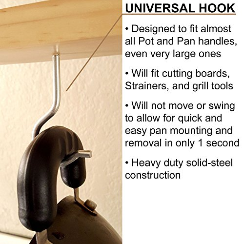 Pot Rack: Easy to Reach Ceiling Mount Solid-Wood Pan Hanger by HomeHarmony by HomeHarmony (Image #2)