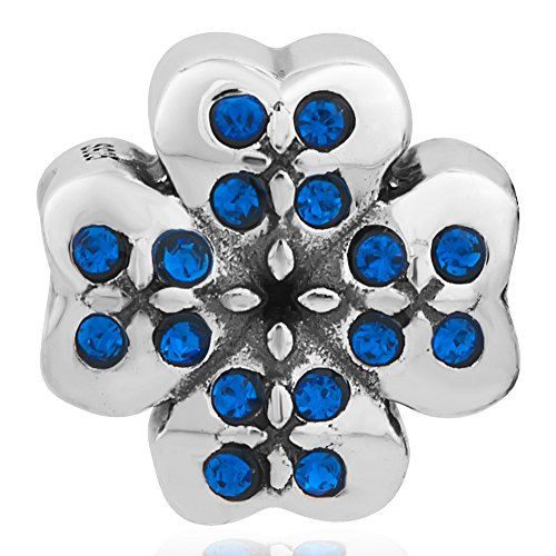 Lucky Four Leaf Clover 925 Sterling Silver Bead Fit European Charms Bracelet (Sapphire September Birthstone)