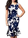 FORTRIC Women Sleeveless Fishtail Floral Summer Work Bodycon Party Dress Dark Blue XL