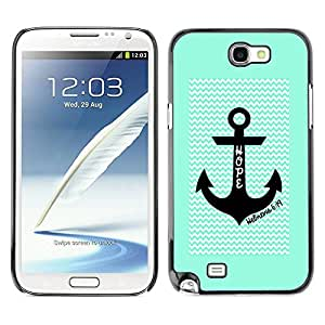 LASTONE PHONE CASE / Slim Protector Hard Shell Cover Case for Samsung Note 2 N7100 / Anchor Waves Green Chevron Pattern