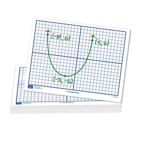 EAI Education X-Y Coordinate Grid Dry-Erase Boards: 9x12 Flexible Double-Sided Set of 30