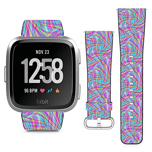 Compatible with Fitbit Versa // Leather Replacement Bracelet Strap Wristband with Quick Release Pins // Bright Digital Psychedelic Overlay Swirl