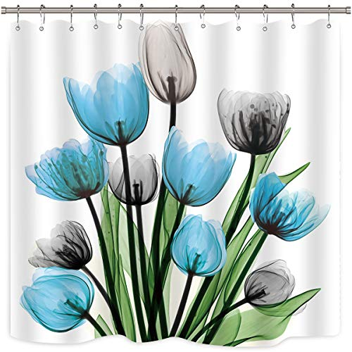 Riyidecor Teal Tulip Blue Grey Flower Shower Curtain Floral Turquoise Watercolor Panting Decor Bathroom Fabric Set Polyester Waterproof 72x72 Inch 12-Pack Plastic Hooks