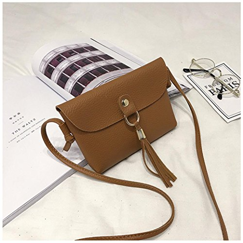 Mini Tassel Seaintheson Bags Shoulder Leather Bag Bag Shoulder Purse Small Bags Handbag Vintage Brown Crossbody Fashion Shoulder Clearance Brown Messenger qzxSz0F