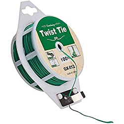 2 pcs 328 feet Green Multi-Function Sturdy Garden Plant Twist Tie with Cutter/ Cable Tie/Zip Tie/ Coated Wire 100m(GREEN)