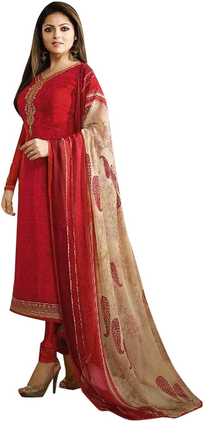 Amazon.com: Traje largo de salwar Kameez indio étnico rojo ...