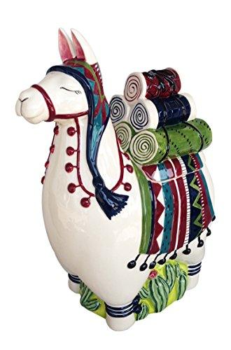 Blue Sky Ceramic Llama Cookie Jar, Multicolor