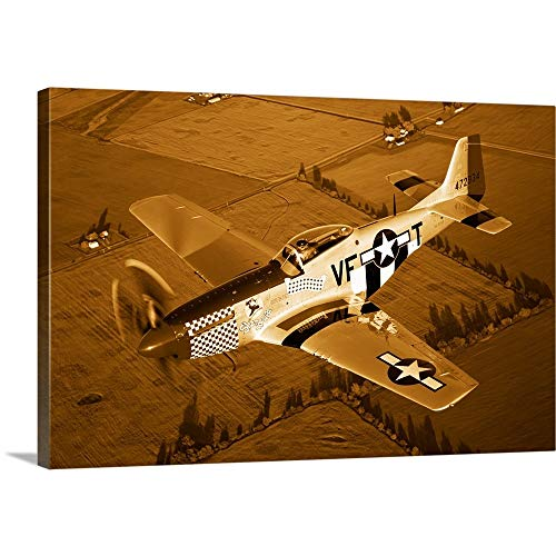 GREATBIGCANVAS Gallery-Wrapped Canvas Entitled A North American P 51D Mustang in Flight by Scott Germain 48