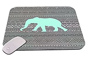 Blue Elephant With Grey Tribal Chevron Pattern Mouse Pad