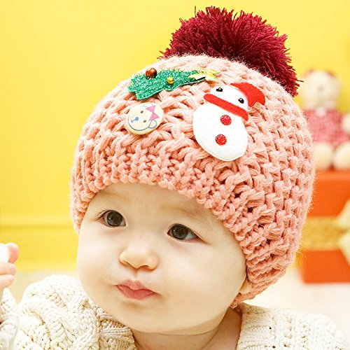 Fantastic Baby Beanies,Dealzip Inc Cute Unisex Kids Children Toddler Pink Acrylon Christmas Tree & Snowman Pattern Woven Knit Crochet Warm Winter Little Hat Cap Beret Beanie