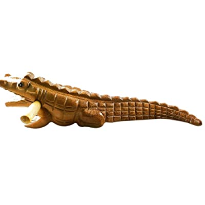 Natural Wooden Aligators With Stick Wood Wiggle Alligator Carved Wooden Crocodile Aligator Reptile Animal Model Kids Toy Gift: Toys & Games