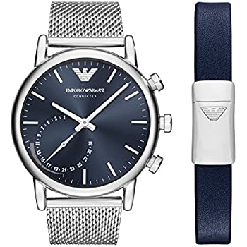 Emporio Armani Mens Hybrid Quartz Stainless Steel Smart Watch, Color:Silver-Toned (Model: ART9003)