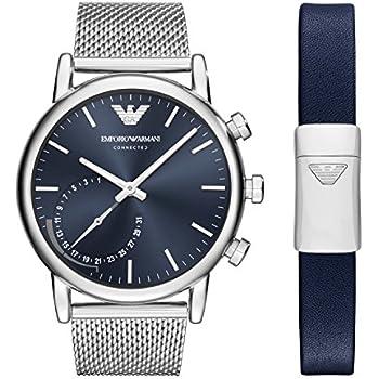 Emporio Armani Mens Hybrid Quartz Stainless Steel Smart Watch, Color:Silver-Toned (Model: ART9003)