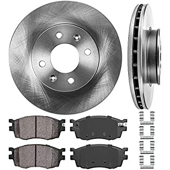 Rear Drum /& Shoes for 2006-2011 Hyundai Accent Sedan Front Rotors /& Pads