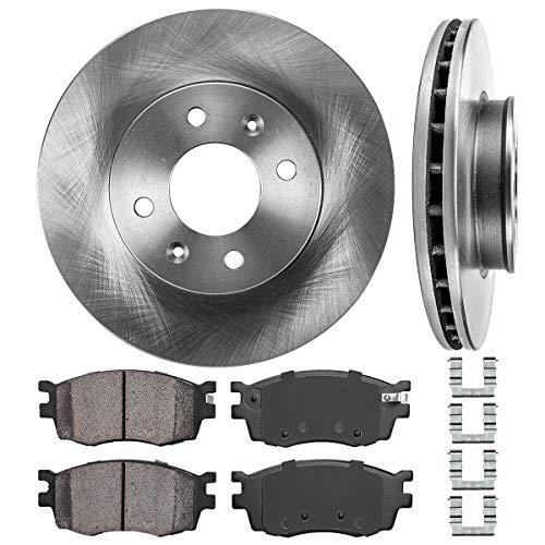Tires Hyundai Accent - FRONT 256 mm Premium OE 4 Lug [2] Brake Disc Rotors + [4] Ceramic Brake Pads + Hardware