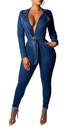 Abeaicoc Womens Long Sleeve Long Pants Casual Button Up Pockets Jumpsuit Romper