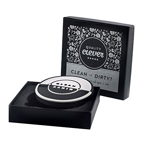 Quality Clever Magnetic Dishwasher Clean/Dirty Sign With Built in Bottle Opener, 2.75 Inches, Works on All Dishwashers, Rubber Coating Prevents Scratches, Black & White to Match Any Decor