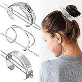 3 Pieces Hair Cuff Bun Set, Includes Feather Hair