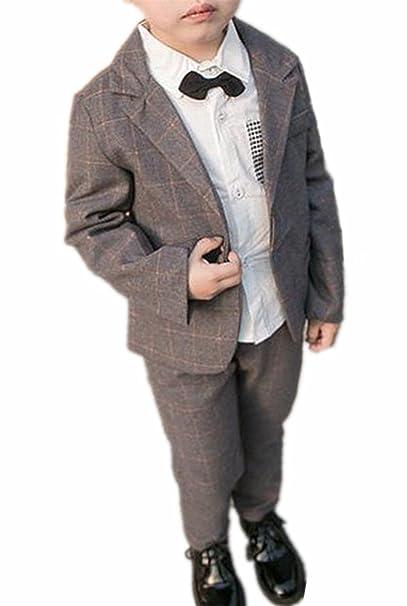 e1ce298e55823 (チェリーレッド) CherryRed 男の子 フォーマル ジャケット ズボン 2点セット チェック柄 グレー 80
